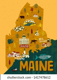 Illustrated map of Maine, USA. Travel and attractions