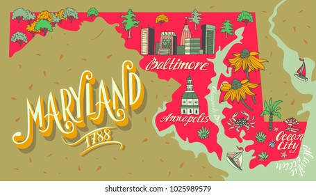 Illustrated map of Maryland, USA. Travel and attractions