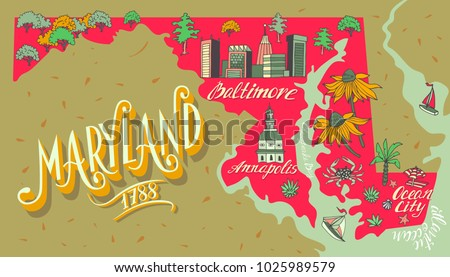 illustrated map maryland usa travel attractions stock vector
