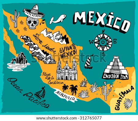 Illustrated Map Mexico Main Attractions Stock Vector (Royalty Free ...