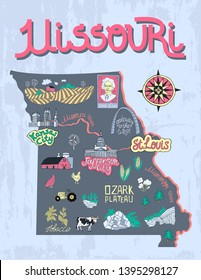 Illustrated map of  Missouri, USA. Travel and attractions