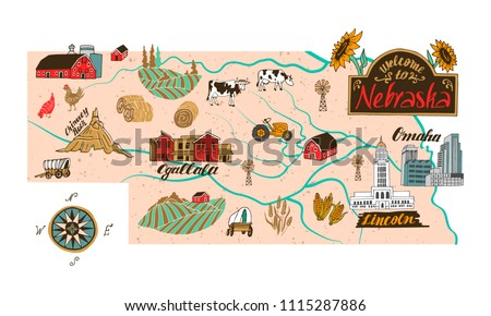Illustrated Map Nebraska Usa Travel Attractions Stock Vector
