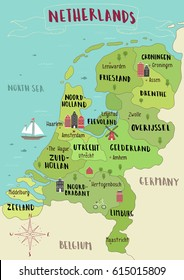 Illustrated map of Netherlands