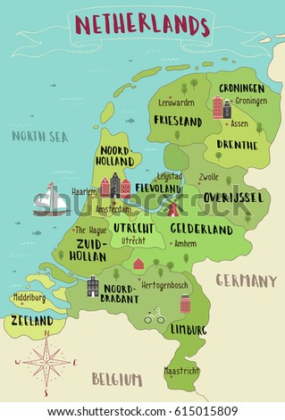 Illustrated Map Netherlands Stock Vector (Royalty Free) 615015809 ...