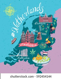 Illustrated map of Netherlands. Attractions and national symbols of the country