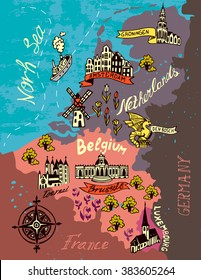 Illustrated map of the Netherlands, Belgium, Luxembourg