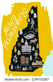 Illustrated map of  New Hampshire , USA. Travel and attractions. Cartoon map.