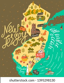 Illustrated map of  New Jersey, USA. Travel and attractions