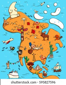 Illustrated Map of North America. With funny and typical objects, people, activities, animals, plants, history etc. Illustration in eps10 vector, continent on separate layer.