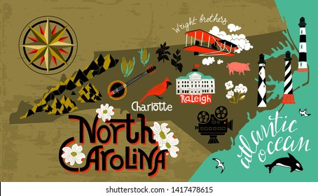 Illustrated map of North Carolina, USA. Travel and attractions