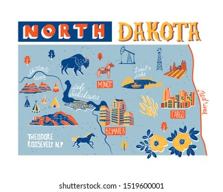 Illustrated map of North Dakota state, USA. Travel and attractions