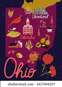 Illustrated map of Ohio, USA. Travel and attractions