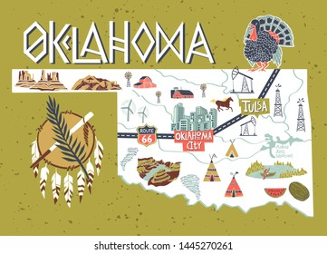 Illustrated map of  Oklahoma, USA. Travel and attractions