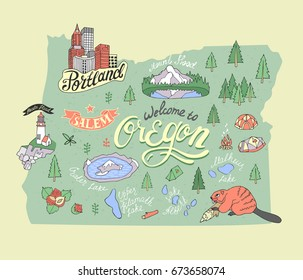 Illustrated map of Oregon State, USA. Travel and attractions