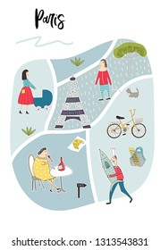 Illustrated Map of Paris with cute and fun hand drawn characters, plants and elements. Color vector illustration. - Shutterstock ID 1313543831