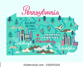 Illustrated map of Pennsylvania, USA. Travel and attractions