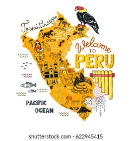 Illustrated map of Peru.  Vector illustration with all main tourist attraction of the country. Tawantinsuyu (quechua language) - The Inca Empire.