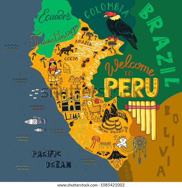 Illustrated Map Peru Vector Illustration All Stock Vector ...