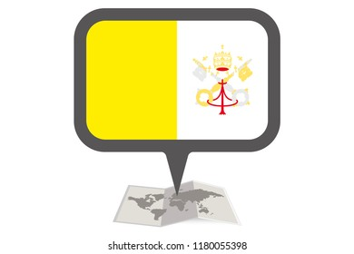 An Illustrated Map and Pointer with the Country Flag of  Vatican