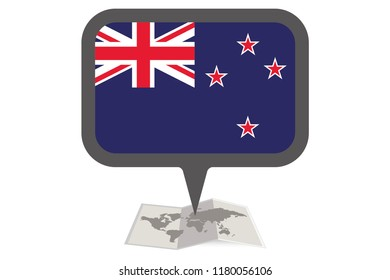 An Illustrated Map and Pointer with the Country Flag of  New Zealand