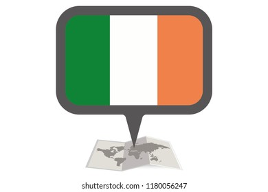 An Illustrated Map and Pointer with the Country Flag of  Ireland