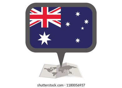 An Illustrated Map and Pointer with the Country Flag of  Australia