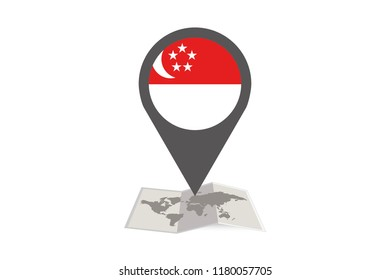 An Illustrated Map and Pointer with the Country Flag of  Singapore