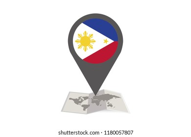 An Illustrated Map and Pointer with the Country Flag of  Philippines