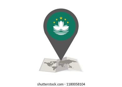 An Illustrated Map and Pointer with the Country Flag of  Macau