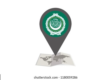 An Illustrated Map and Pointer with the Country Flag of  Arab League