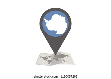 An Illustrated Map and Pointer with the Country Flag of  Antarctica