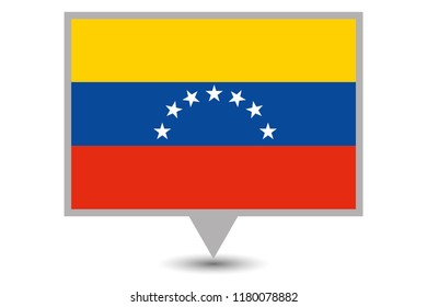 Illustrated Map and Pointer with the Country Flag of Venezuela