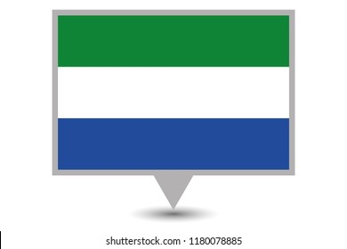 Illustrated Map and Pointer with the Country Flag of Sierra Leone