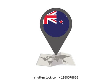 Illustrated Map and Pointer with the Country Flag of New Zealand