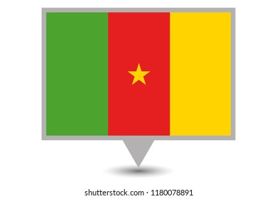 Illustrated Map and Pointer with the Country Flag of Cameroon