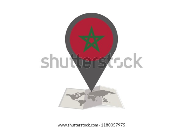 An Illustrated Map and Pointer with the Country Flag of  Morocco