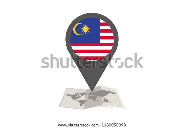 An Illustrated Map and Pointer with the Country Flag of  Malaysia
