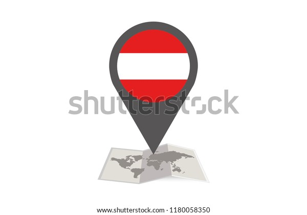 An Illustrated Map and Pointer with the Country Flag of  Austria