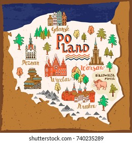 Illustrated map of Poland. Travel and attractions