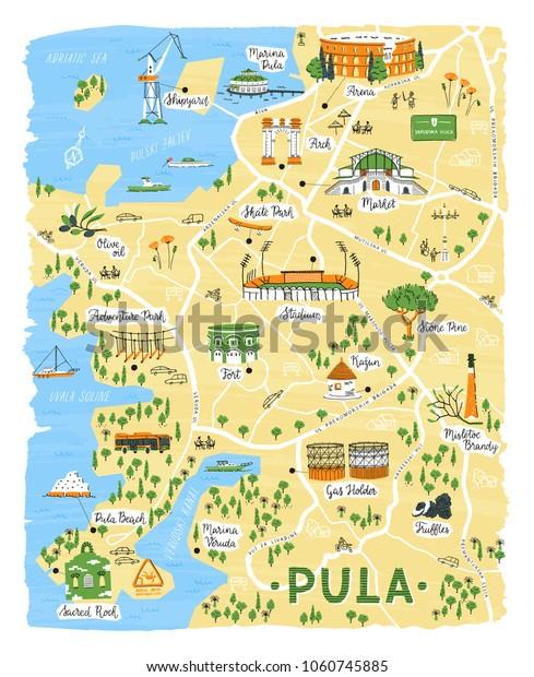 Karte Kroatien Pula.Illustrated Map Pula Croatia Vector Doodle Stock Vector Royalty