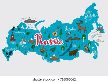 Illustrated map of Russia with all main cities including Moscow and tourist attractions. Vector illustration.