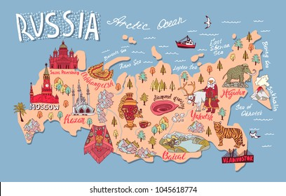 Illustrated map of Russia with elements of culture and nature. Travel and attractions