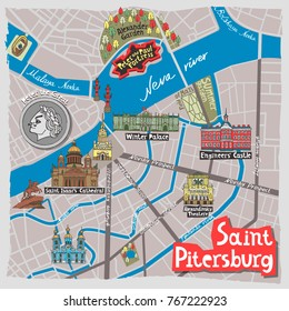 Illustrated map of Saint-Petersburg. Travel and attractions