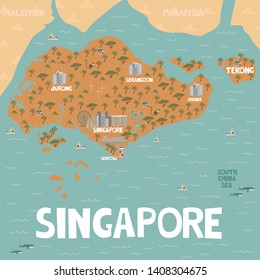 Illustrated map of Singapore with cities and landmarks. Editable vector illustration