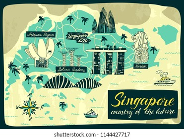 Illustrated map of Singapore. Travel and attractions
