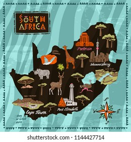 Illustrated map of South Africa. Travel and attractions