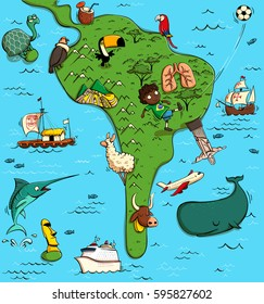 Illustrated Map of South America. With funny and typical objects, people, activities, animals, plants, history etc. Illustration in eps10 vector, continent on separate layer.