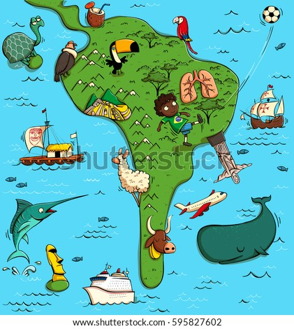 Illustrated Map South America Funny Typical Stock Vector Royalty