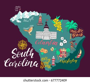 Illustrated map of South Carolina, USA. Travel and attractions