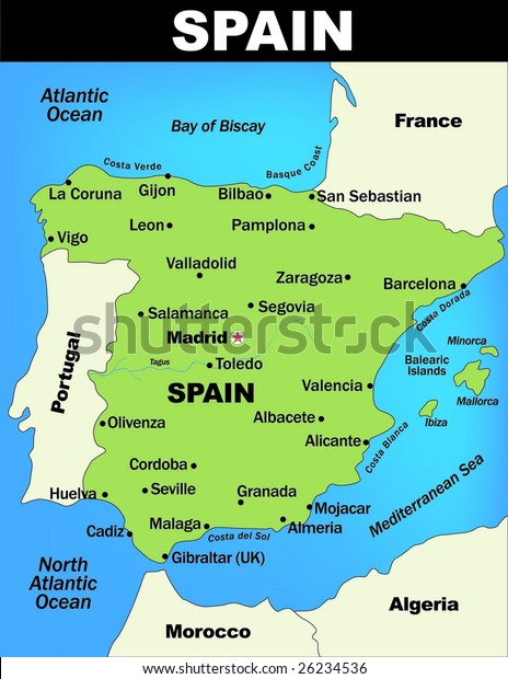 Map Of Spain Near Gibraltar.Illustrated Map Spain Stock Vector Royalty Free 26234536